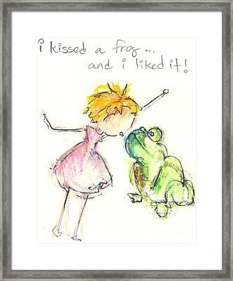 I Kissed A Frog Framed Print by Ricky Sencion