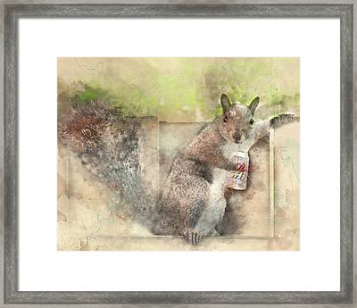 I Like My Beer Light - Squirrel With Beer Digital Watercolor Framed Print
