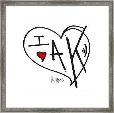 I Love Alaska Heart Design From The Livin The Mad Life Collection By Megan Duncanson Framed Print by Megan Duncanson