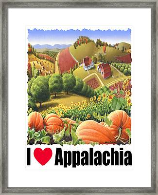 I Love Appalachia - Appalachian Pumpkin Patch - Rural Farm Landscape Framed Print by Walt Curlee