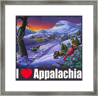 I Love Appalachia T Shirt - Small Town Winter Landscape 2 - Cardinals Framed Print by Walt Curlee