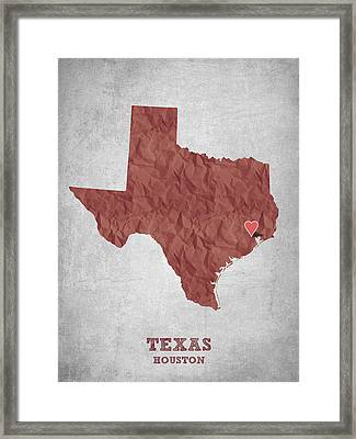I Love Houston Texas - Red Framed Print by Aged Pixel