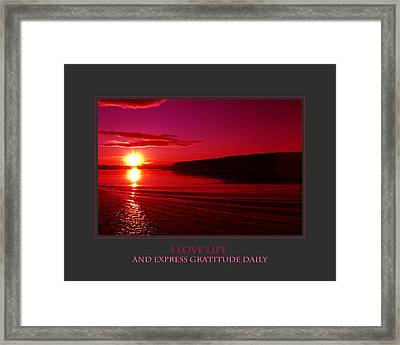 I Love Life And Express Gratitude Daily Framed Print by Donna Corless