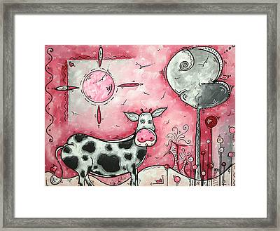 I Love Moo Original Madart Painting Framed Print by Megan Duncanson