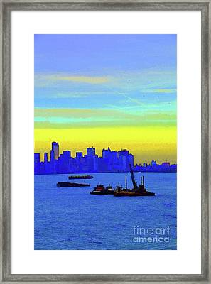 I Love New York Sunset Digital Painting Framed Print by Robyn King