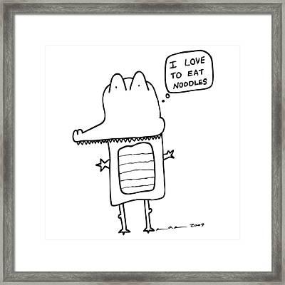 I Love Noodles Comic Framed Print by Karl Addison