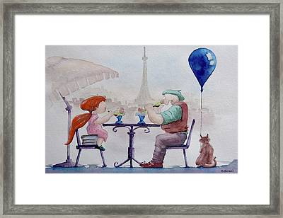 Framed Print featuring the painting I Love Paris Grandpa by Geni Gorani