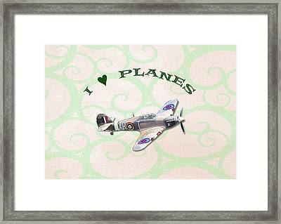 Framed Print featuring the digital art I Love Planes - Hurricane by Paul Gulliver