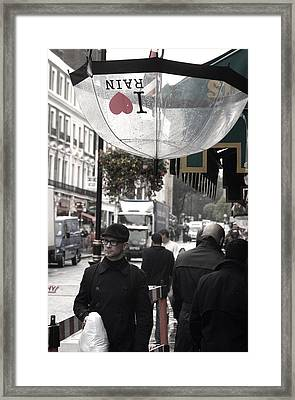 I Love Rain Framed Print by Jez C Self