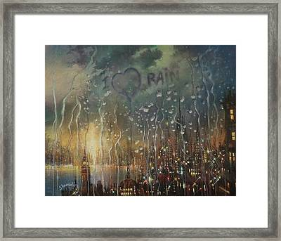 I Love Rain Framed Print
