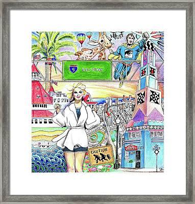 I Love San Diego Framed Print by Debbie Duguay