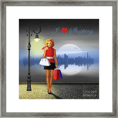 I Love Shopping Framed Print by Monika Juengling