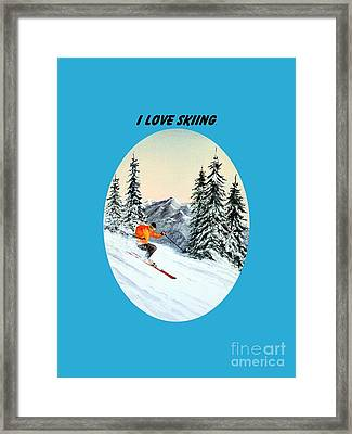 Framed Print featuring the painting I Love Skiing  by Bill Holkham