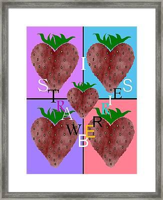 I Love Strawberries Framed Print
