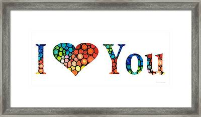 I Love You 14 - Heart Hearts Romantic Art Framed Print by Sharon Cummings