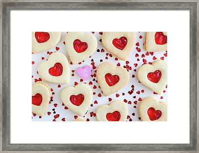 Framed Print featuring the photograph I Love You Heart Cookies by Teri Virbickis