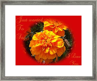 I Love You In Red And Orange Framed Print by Dawn Hay