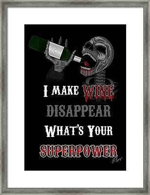 Framed Print featuring the drawing I Make Wine Disappear by Raphael Lopez