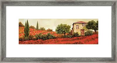 I Papaveri Sulla Collina Framed Print