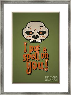 I Put A Spell On You Voodoo Retro Poster Framed Print by Monkey Crisis On Mars