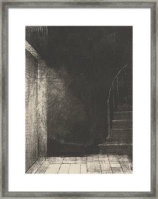 I Saw A Flash Of Light, Large And Pale Framed Print by Odilon Redon