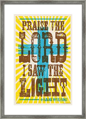 I Saw The Light Lyric Poster Framed Print by Jim Zahniser