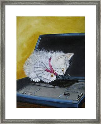 Framed Print featuring the painting I See A Mouse by Joni McPherson