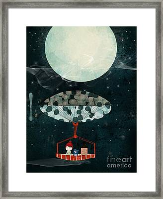 Framed Print featuring the painting I See The Moon Too by Bri B