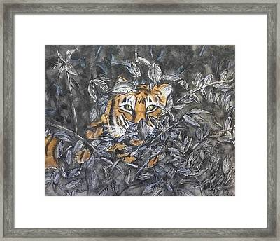 Framed Print featuring the painting I See You... Orange Tiger by Kelly Mills