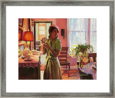 I Stand At The Door And Knock Framed Print
