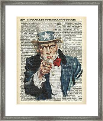 I Want You Uncle Sam Framed Print by Jacob Kuch