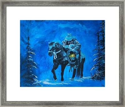 Framed Print featuring the painting I Will Carry You by Leslie Allen