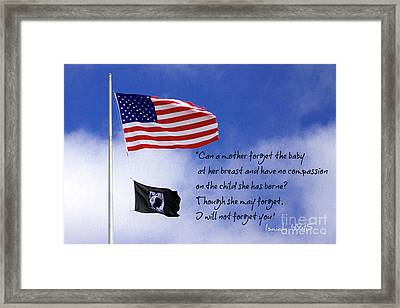 Framed Print featuring the photograph I Will Not Forget You American Flag Pow Mia Flag Art by Reid Callaway