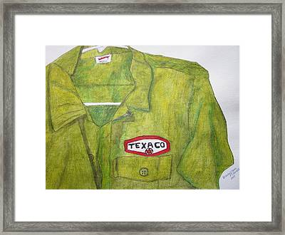 Framed Print featuring the painting I Worked At Texaco by Kathy Marrs Chandler