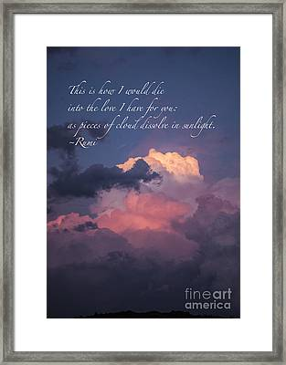 Framed Print featuring the mixed media I Would Die Into Your Love by Terry Rowe