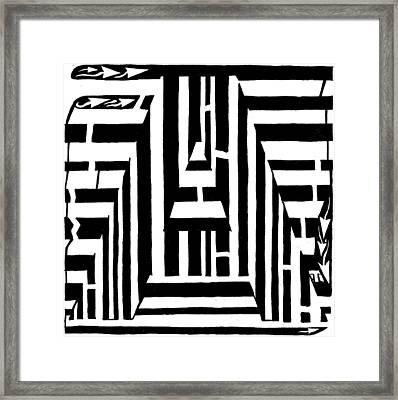 I Would Like To Maze A Vowel Framed Print by Yonatan Frimer Maze Artist