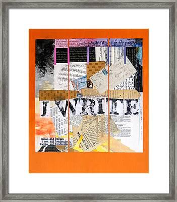I Write Framed Print by Dawn Chevoya