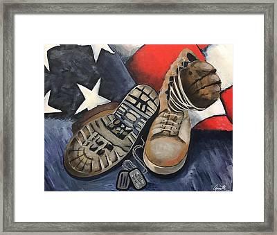 Ians Boots V3 Framed Print by Annette Torres