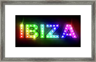 Ibiza In Lights Framed Print by Michael Tompsett