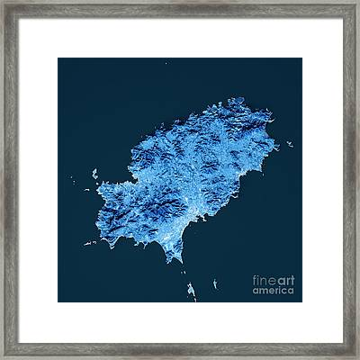 Ibiza Island Topographic Map Blue Color Top View Framed Print by Frank Ramspott