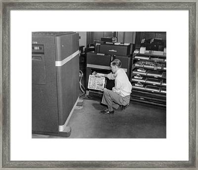 Ibm Punch Card Machine Framed Print by Underwood Archives
