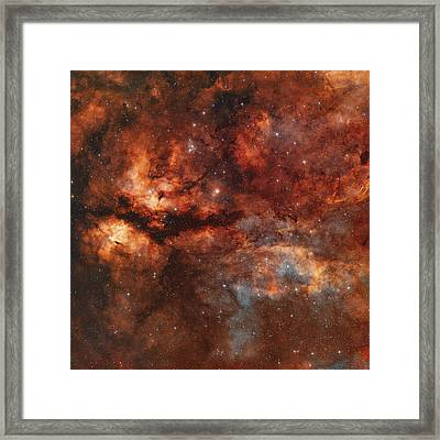 Ic 1318 And The Butterfly Nebula Framed Print by Rolf Geissinger