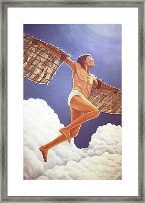 Framed Print featuring the painting Icarus Ascending by Laurie Stewart