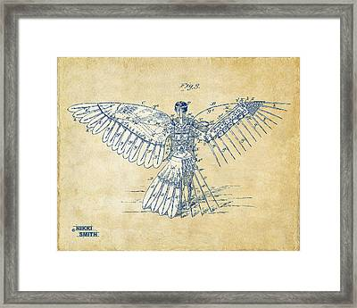 Icarus Human Flight Patent Artwork - Vintage Framed Print by Nikki Smith