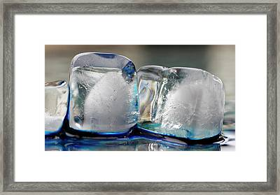 Framed Print featuring the photograph Ice And Blue by Rico Besserdich