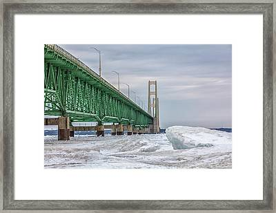 Framed Print featuring the photograph Ice And Mackinac Bridge  by John McGraw