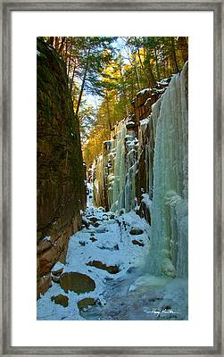 Ice At The Flume Framed Print