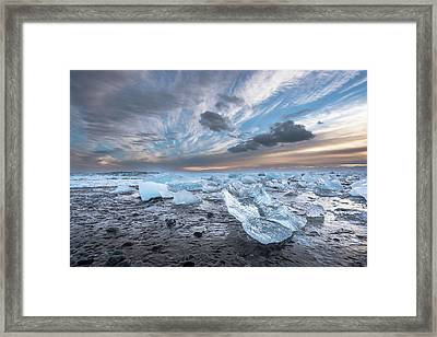 Ice Chunks Sunset 2 Framed Print