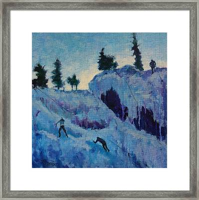 Ice Climbing Framed Print by Marion Corbin Mayer