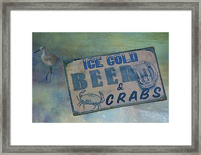 Ice Cold Beer And Crabs - Looks Like Summer At The Shore Framed Print by Mitch Spence